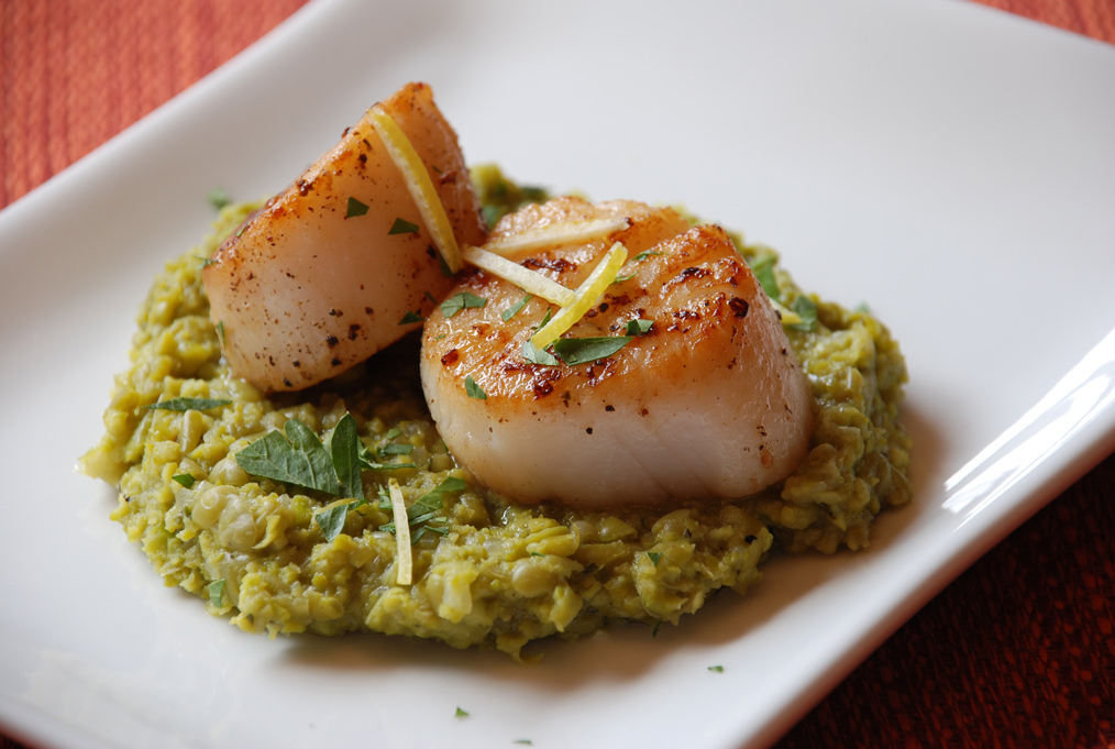Scallops With Carrot Cream And Marjoram Recipe — Dishmaps